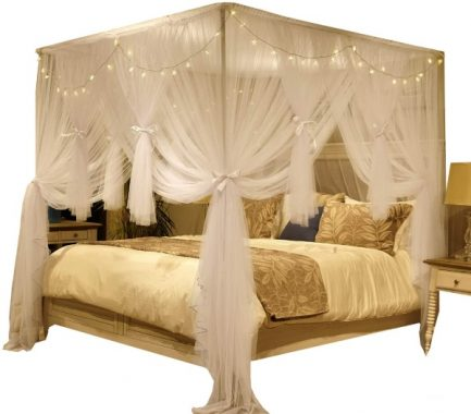 Nattey 4 Corner Poster Princess Bed Curtain Canopy Mosquito Net for Girls Boys Adults - 4 Opening - Bedroom Decoration (Full, White)