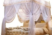 Nattey 4 Corner Poster Princess Bedding Curtain Canopy Netting Canopies (Queen, White)