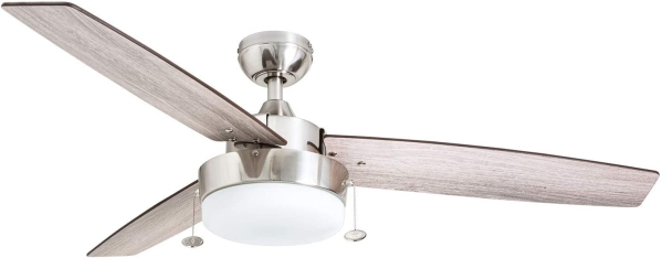 Prominence Home 51019 Statham Modern Farmhouse Ceiling Fan, 52, Brushed Nickel