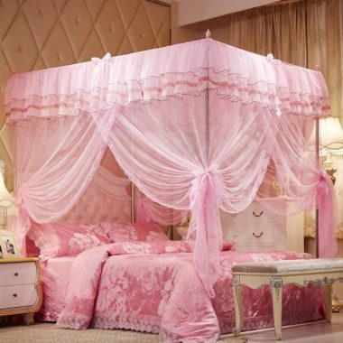 Uozzi Bedding 4 Corners Post Pink Canopy Bed Curtain for Girls & Adults - Cute Cozy Drape Square Netting for Twin Bed - 4 Opening 58 W x 80 L Mosquito Net - Princess Bedroom Decoration