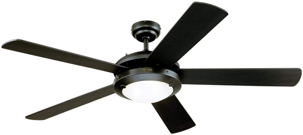 Westinghouse Lighting 7224200 Comet Indoor Ceiling Fan with Light, Matte Black