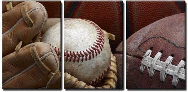 wall26 - 3 Piece Canvas Wall Art - Close Up Shot of Well Worn Baseball in Baseball Glove, Football and Basketball - Modern Home Art Stretched and Framed Ready to Hang