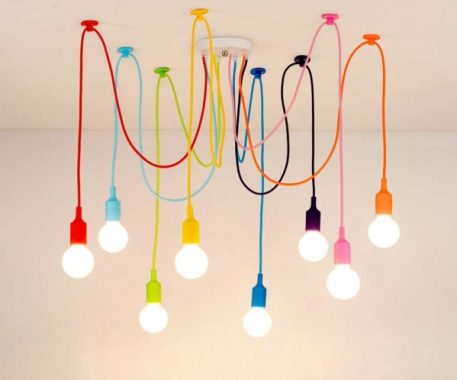 8 Arms Spider Lamps Modern Style Adjustable DIY Ceiling Spider Pendant Lighting Color Chandelier for Children's Room Bedroom Dining Living Room