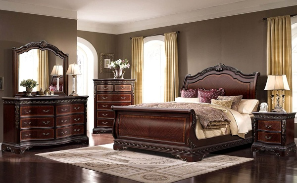 McFerran Bella B188 Bedroom Set of 4 Piece Sleigh California or Eastern King Bed + Dresser + Mirror + Night Stand