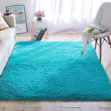Wondo Soft Shaggy Area Rugs, Modern Fluffy Bedroom Rug for Kids Nursery Girls Boys,Super Comfy Shag Fur Carpets,Living Room Furry Home Decor Rugs, 4x5.3 Feet Blue