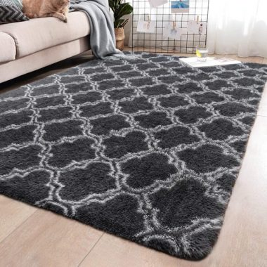YJ.GWL Soft Indoor Large Modern Area Rugs Shaggy Patterned Fluffy Carpets Suitable for Living Room and Bedroom Nursery Rugs Home Decor Rugs for Christmas and Thanksgiving 5'x8' Grey Trellis