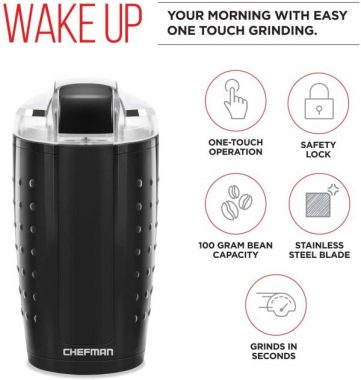 Chefman Electric One-Touch Coffee Grinder for Fresh Coffee Grounds, Durable Stainless Steel Blades, 100 Gram - 3.5 oz. Bean Capacity, for Up to 12 Cups of Coffee, Powerful 150 Watt, Black