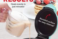 Dash DMS001AQ Mini Maker Electric Round Griddle for Individual Pancakes, Cookies, Eggs & other on the go Breakfast, Lunch & Snacks, with Indicator Light + Included Recipe Book, Aqua