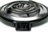 Elite Gourmet ESB-300X Single Countertop Portable Small Buffet Burner Electric Hot, Coiled Heating Plate, Temperature Control, Dorms, RV, Camping, 750 Watts, Black