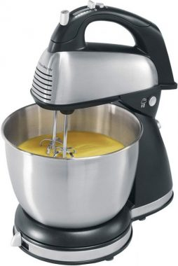 Hamilton Beach Classic Hand and Stand Mixer, 4 Quarts, 6 Speeds with QuickBurst, 290 Watts, Bowl Rest, Black and Stainless (64650)