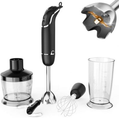 KOIOS 800-Watt - 12-Speed Immersion Hand Blender(Titanium Reinforced), Turbo for Finer Results, 4-in-1 Set Includes BPA-Free Food Chopper - Egg Beater - Beaker, Ergonomic Grip, Detachable