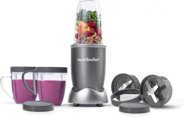NutriBullet NBR-1201 12-Piece High-Speed Blender Mixer System, Gray (600 Watts)