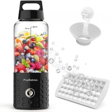 PopBabies Personal Smoothie Blender, Portable Blender, Battery Powered USB Blender to go Black