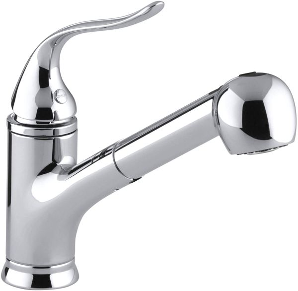 KOHLER Coralais(R) Single Three-Hole Sink Pull-Out Matching Color Spray Head, 9 inc Spout Reach and Lever Handle Kitchen Faucet, Polished Chrome, 15160-CP