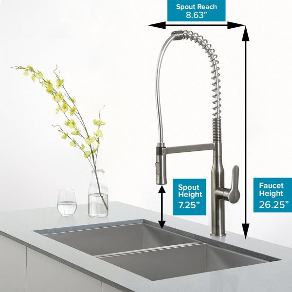 Kraus KPF-1650 Modern Nola Single Lever Commercial Style Kitchen Faucet, Chrome