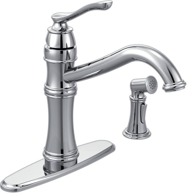 Moen 7245C Belfield Traditional One Handle High Arc Kitchen Faucet with Side Spray and Optional Deckplate Included, Chrome