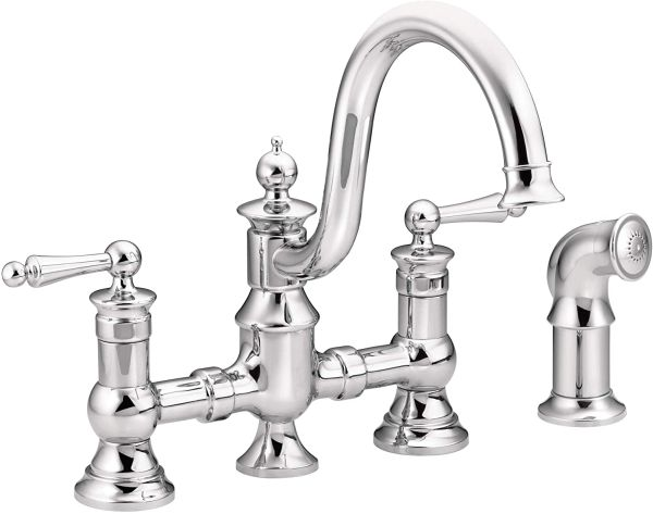 Moen S713 Waterhill Two-Handle Traditional Bridge Kitchen Faucet with Side Sprayer, Chrome