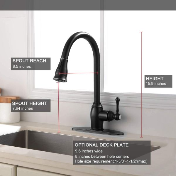 Ufaucet Antique Lead-free Solid Brass 1 or 3 Hole Single Handle Prep Pull Out Sprayer Black Kitchen Faucet, Kitchen Sink Faucet With Deck Plate